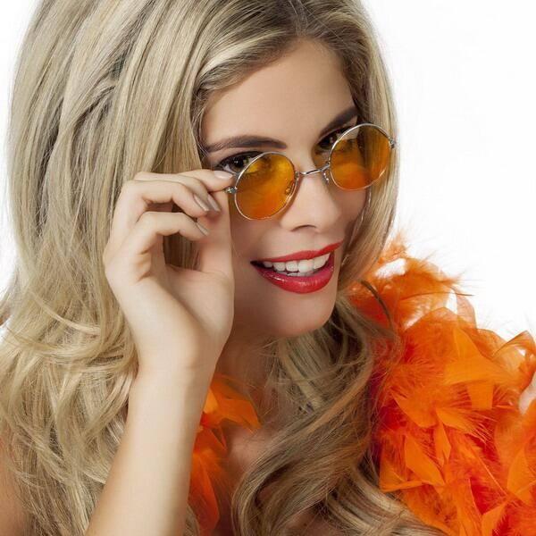 Bril hippie met oranje gekleurd glas