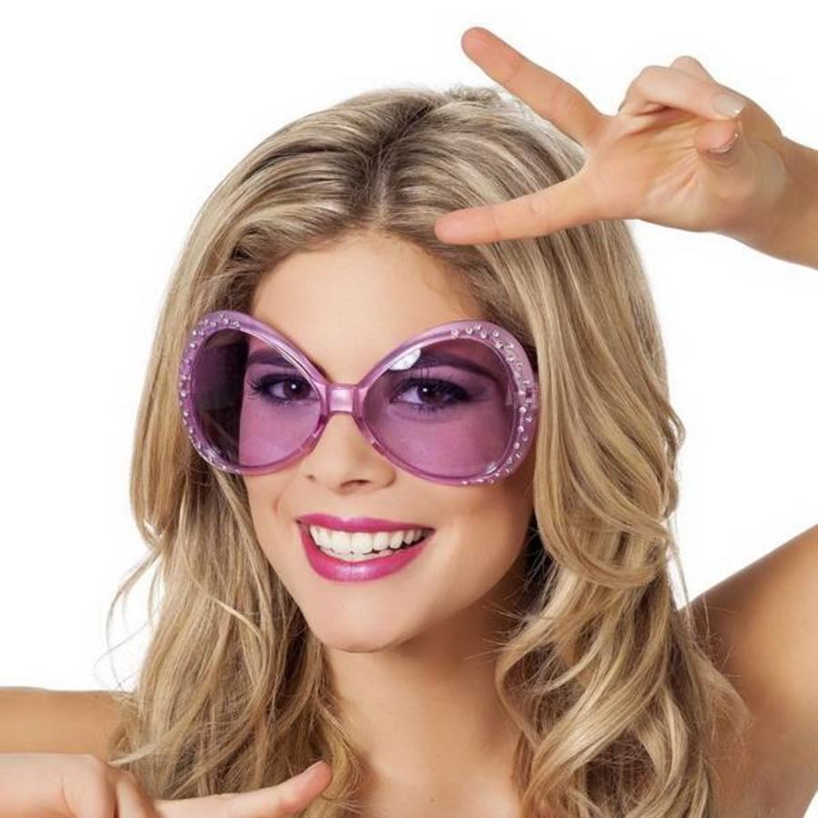 Bril groot roze met glitter steentjes