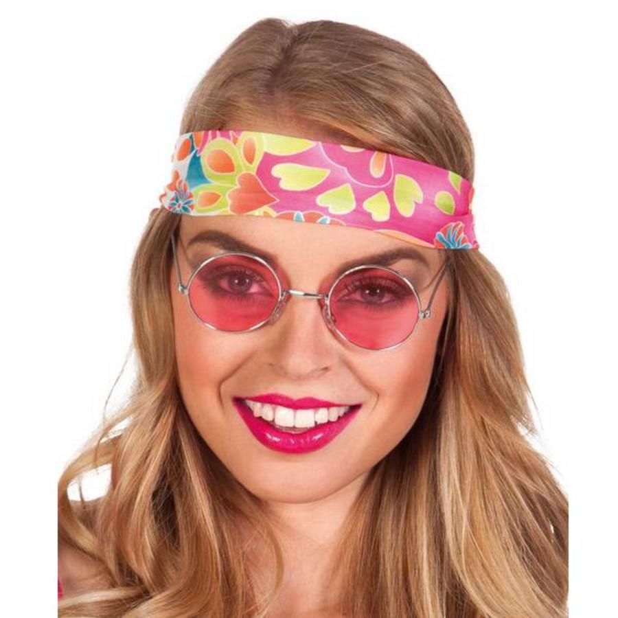 Bril hippie met roze gekleurd glas