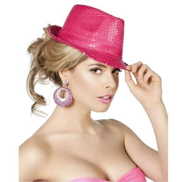 Hoed Popstar met pailletten fluor pink