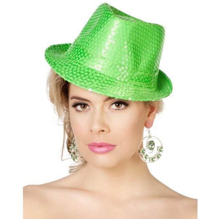 Hoed Popstar met pailletten fluor groen