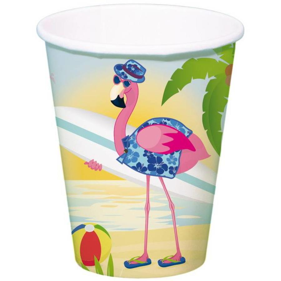 Bekers Flamingo on the beach 8 stuks
