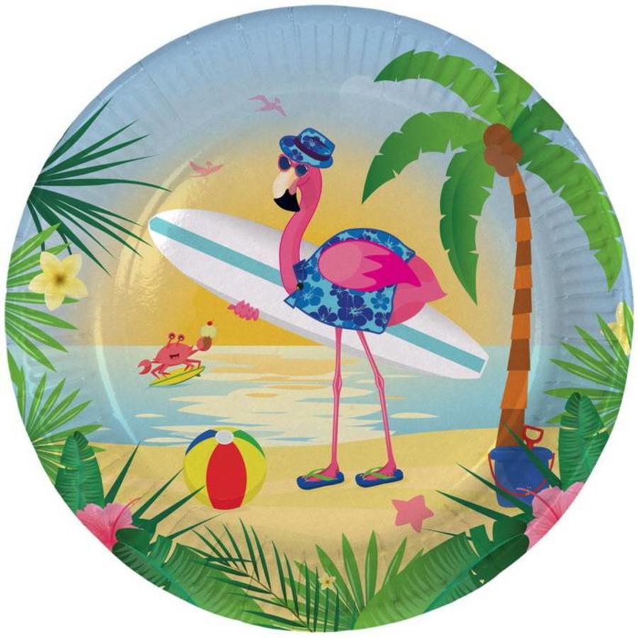 Bordjes Flamingo on the beach 8 stuks