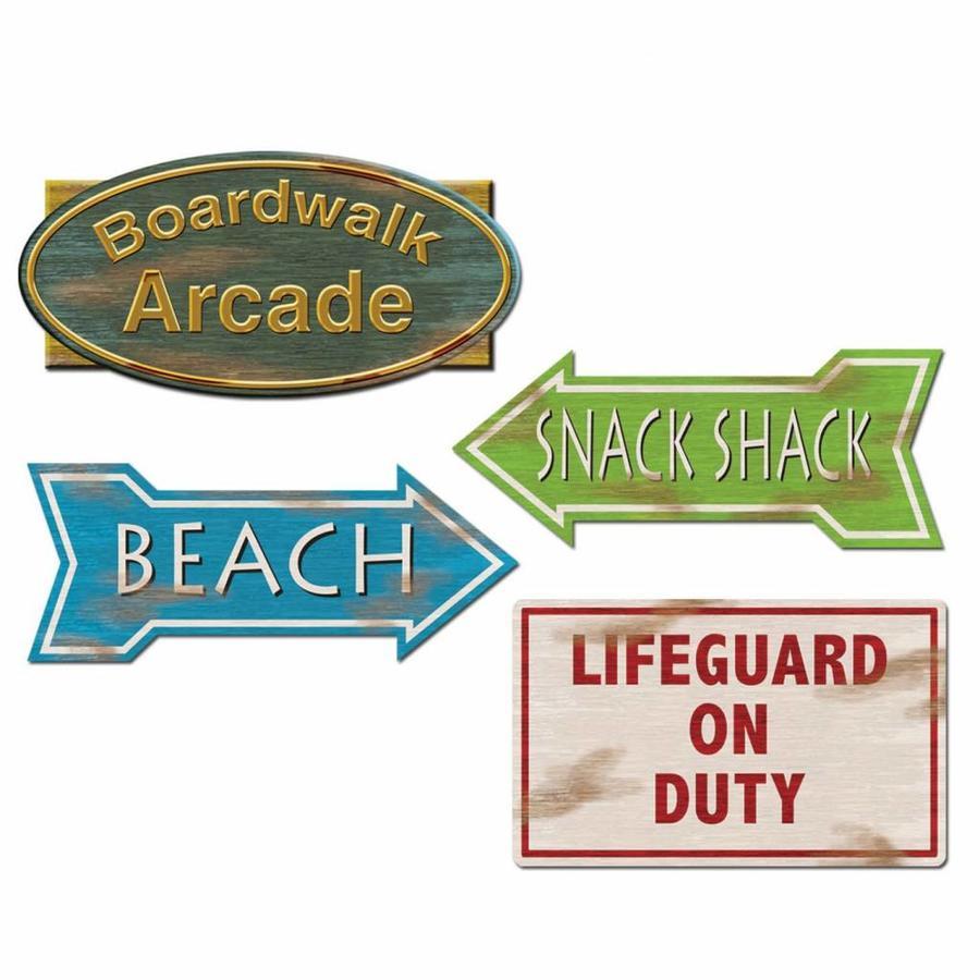 Decoratie Beach borden 4 stuks