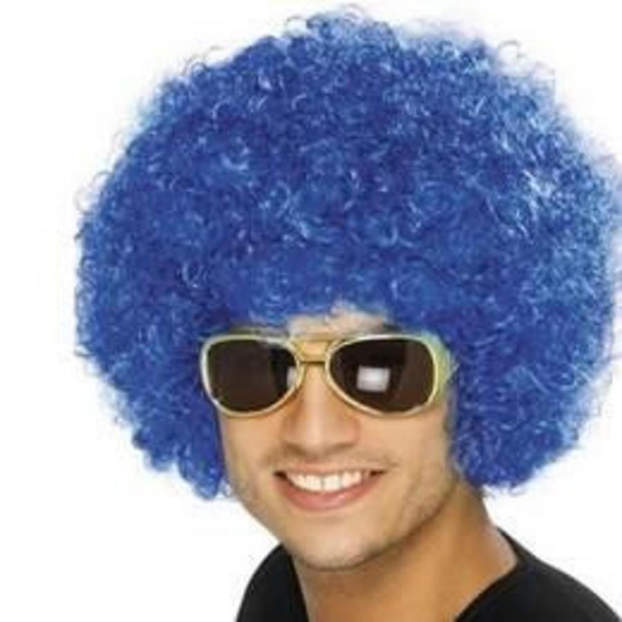 Pruik afro of clown blauw luxe