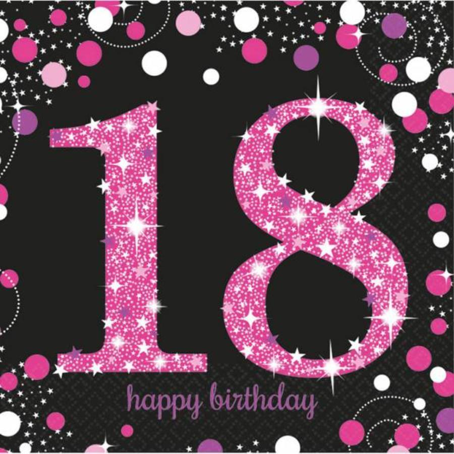 Servetten 18 jaar stijlvol zwart-roze-wit 16 stuks