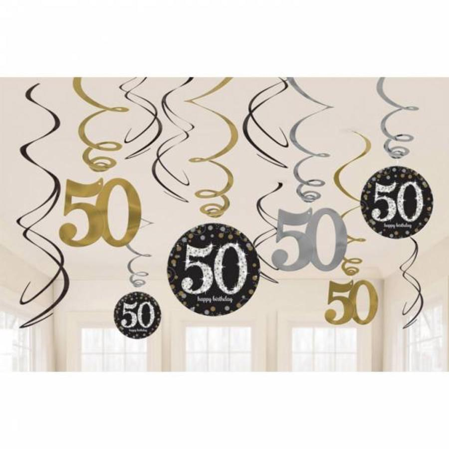 Hangdecoratie 50 jaar stijlvol zwart-goud-zilver