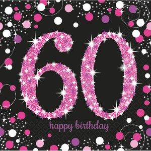 Servetten 60 jaar stijlvol zwart-roze-wit