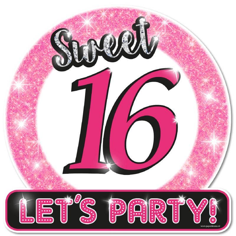 Deurbord Sweet 16 Let's Party