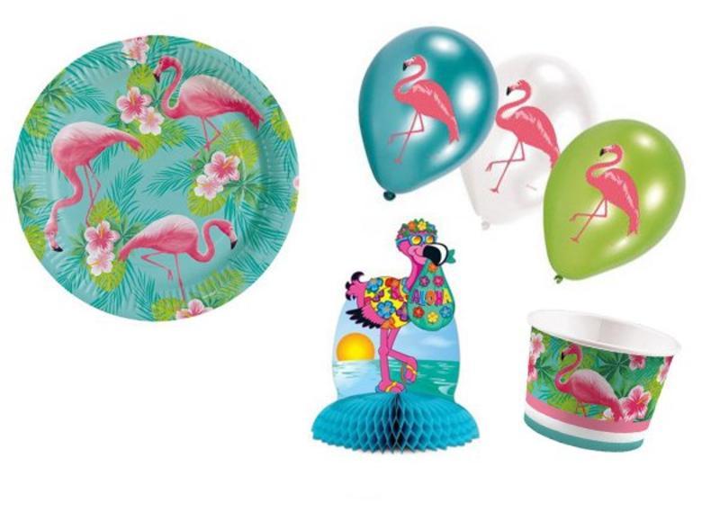 Trendy Hawaii-Flamingo versiering voor een onvergetelijk themafeest