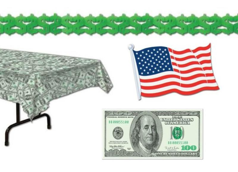 Dollar themafeest versiering