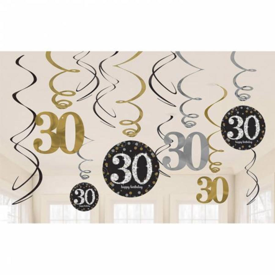 Hangdecoratie 30 jaar stijlvol zwart-goud-zilver