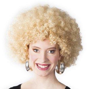 Pruik afro met krullen blond
