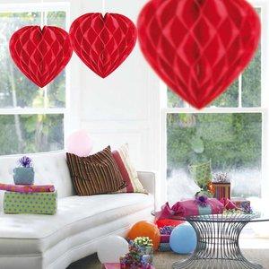 Honeycomb decoratie hart 30cm rood