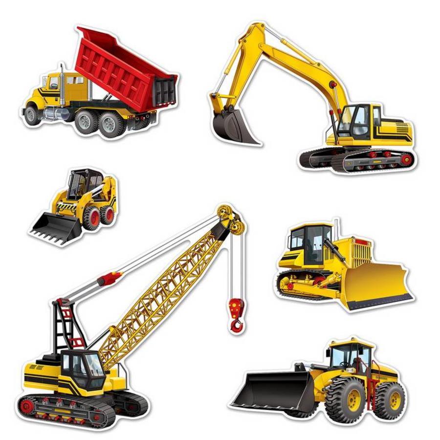 Decoratie bouwvoertuigen 6 stuks