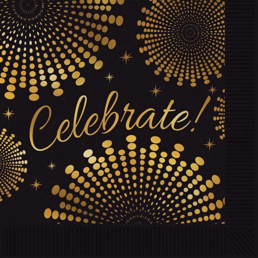 Servetten Celebrate goud zwart 16 stuks