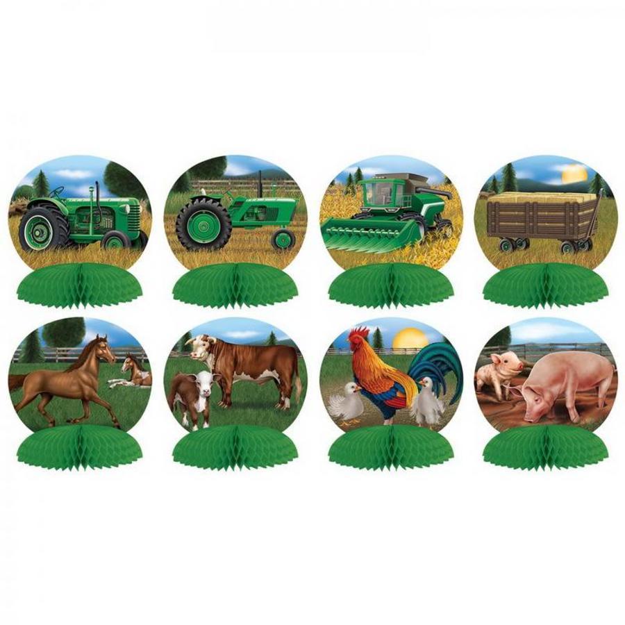 Tafeldecoraties Boerderij dieren 8 stuks