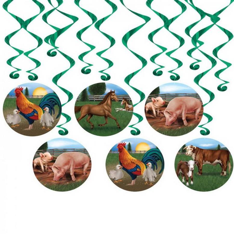 Hangdecoratie Boerderij dieren 12-delig
