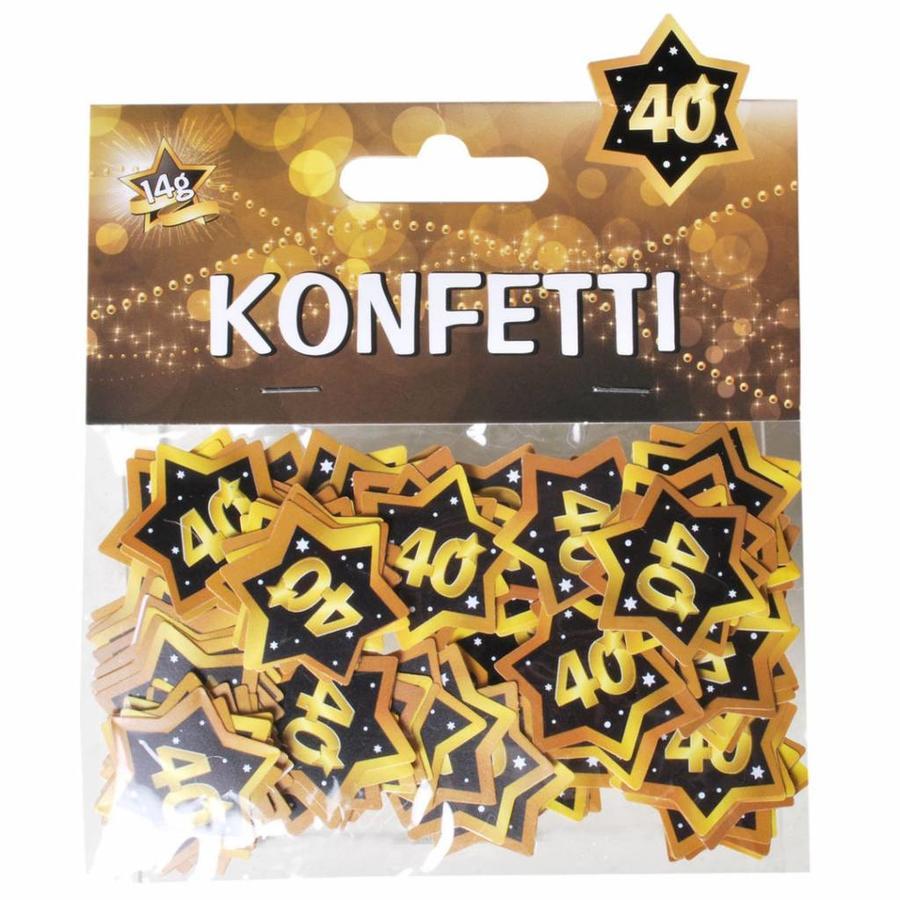 Confetti 40 jaar goud zwart 14 gram
