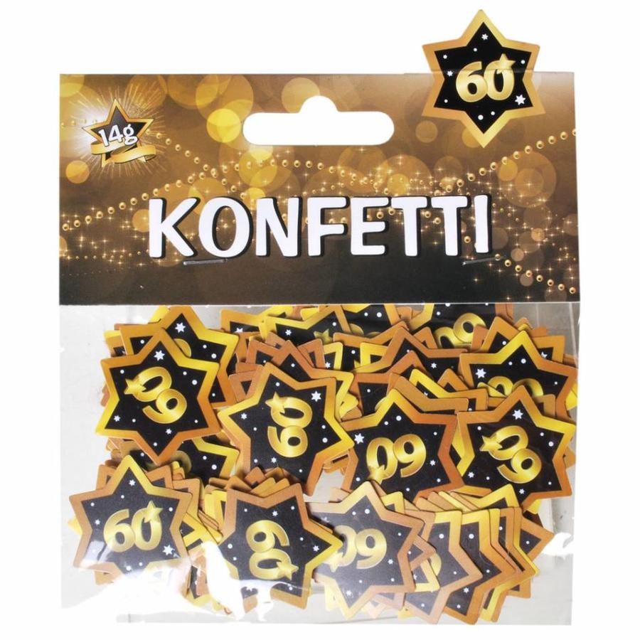 Confetti 60 jaar goud zwart 14 gram