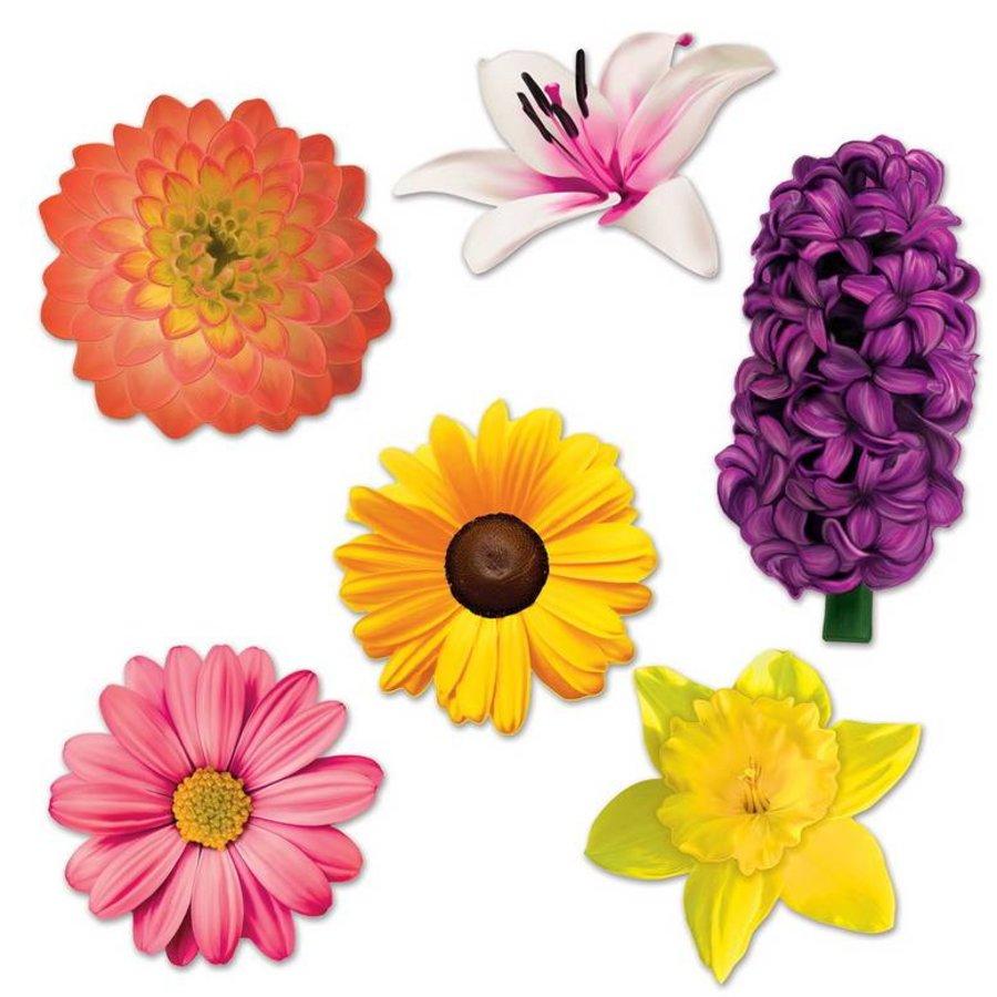 Decoraties bloemen 6 stuks