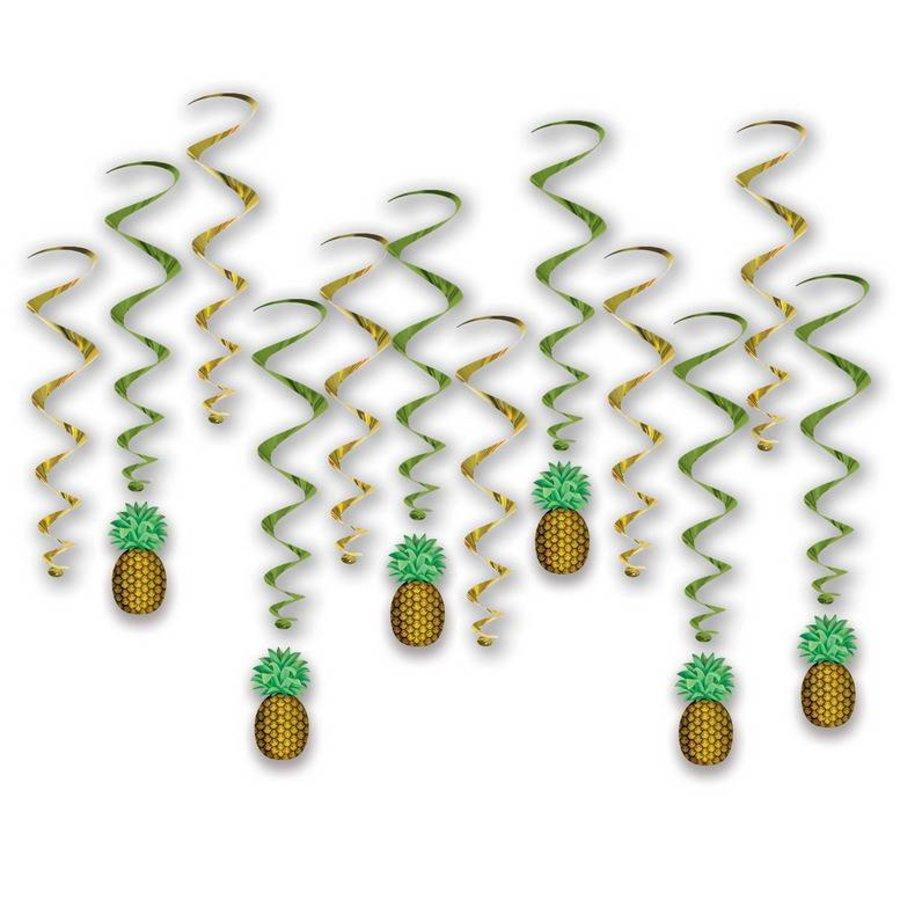 Hangdecoratie  Ananas whirls 12 stuks