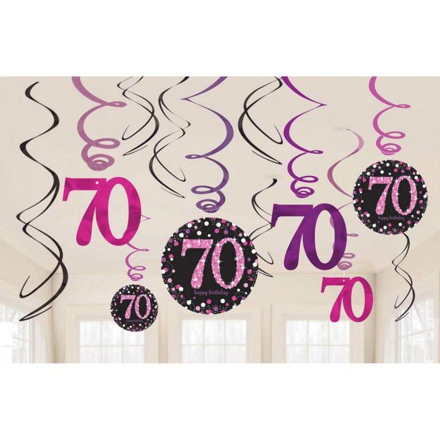 Hangdecoratie 70 jaar stijlvol zwart-roze-wit