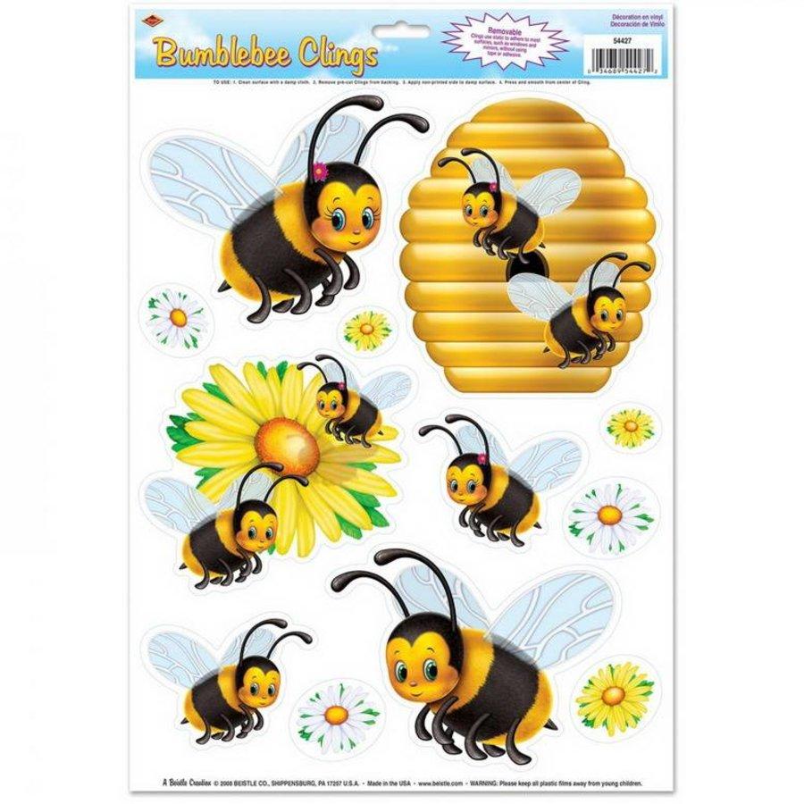 Raamdecoraties bijen 12 delig