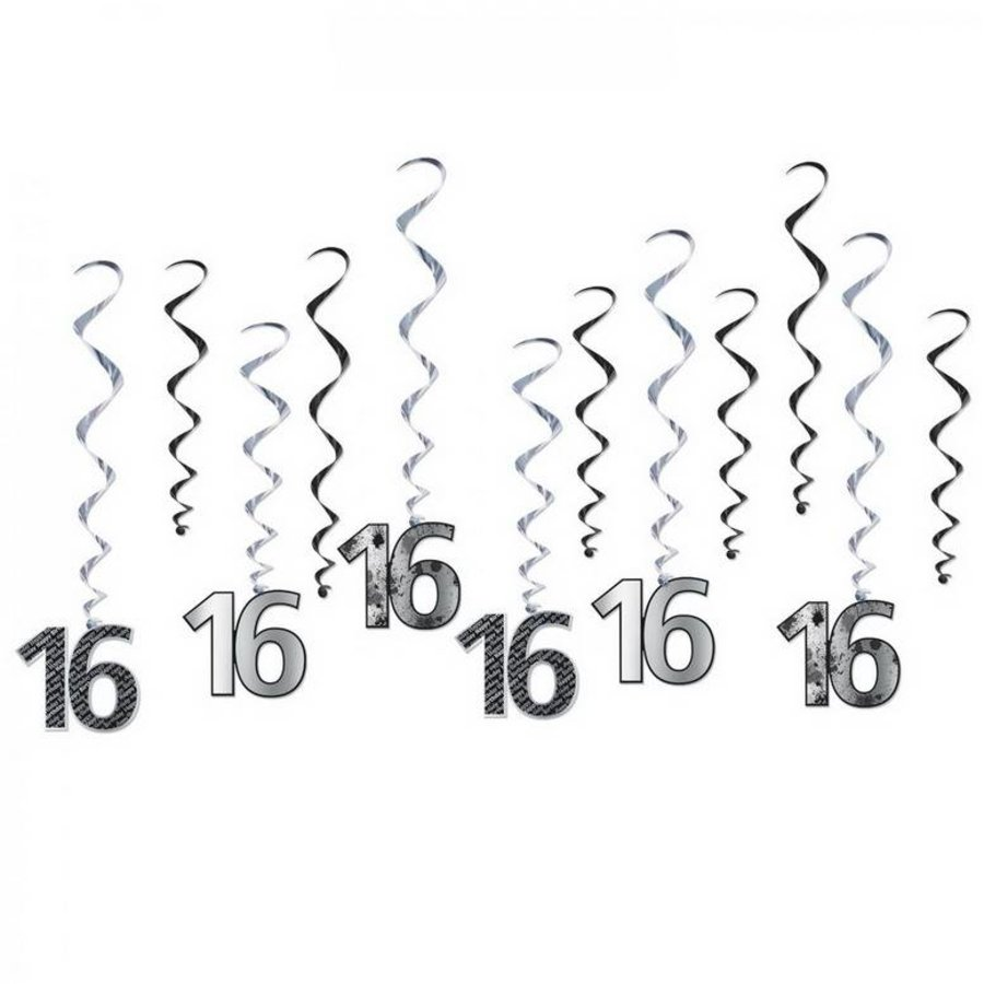 Hangdecoratie Whirls 16 jaar bold 12 stuks