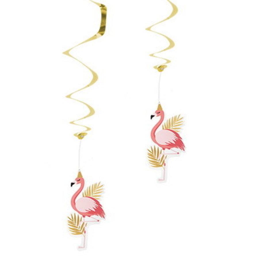 Hangdecoratie Flamingo goud roze