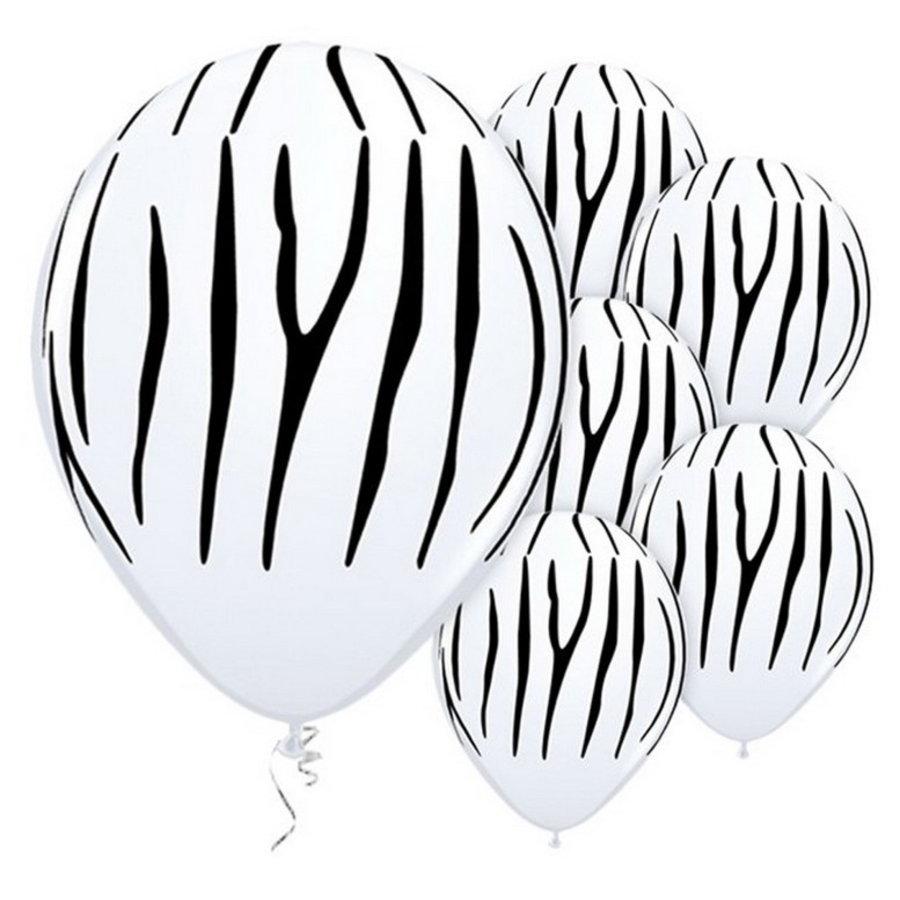 Ballonnen zebra 6 stuks