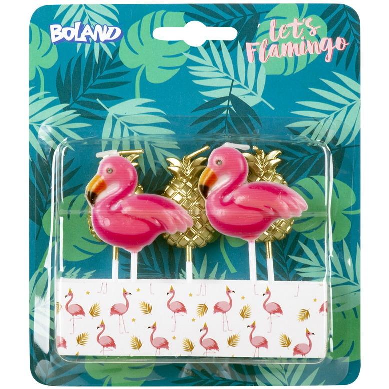 Kaarsjes Flamingo en ananas 5 stuks