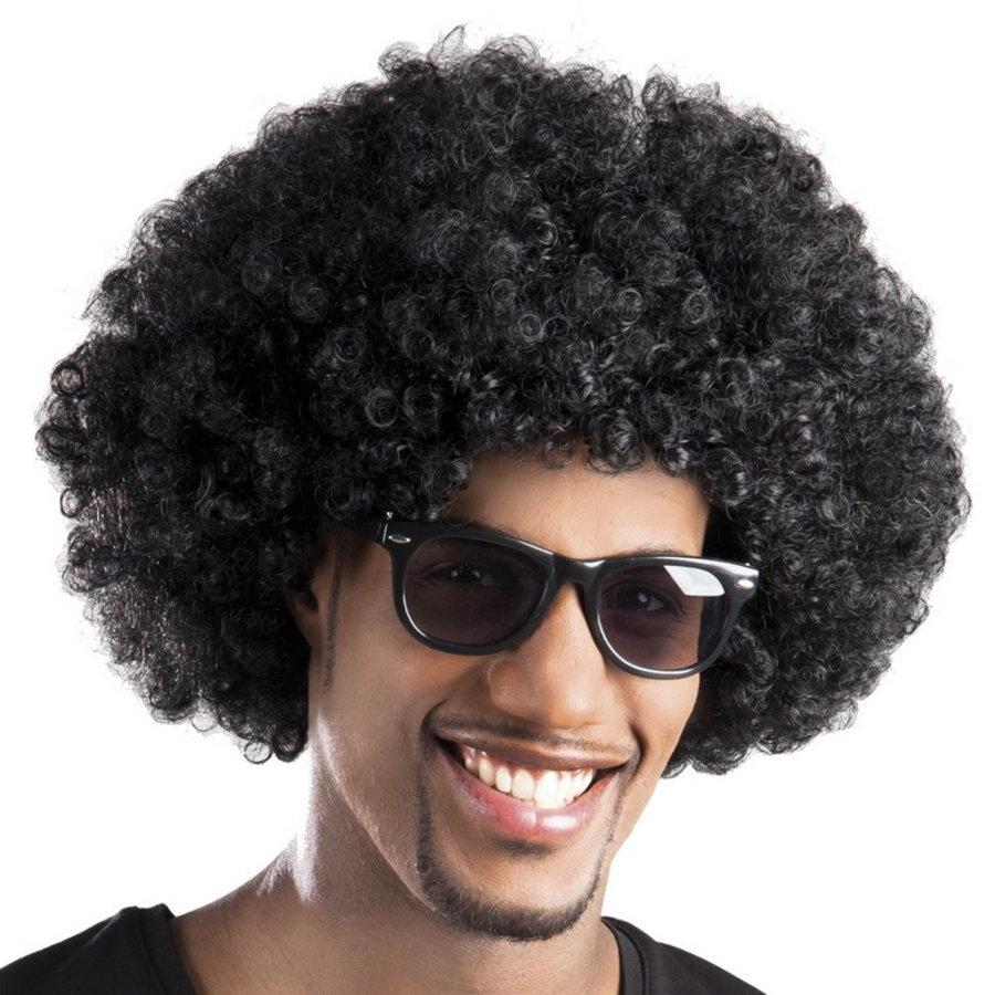 Pruik afro disco zwart luxe