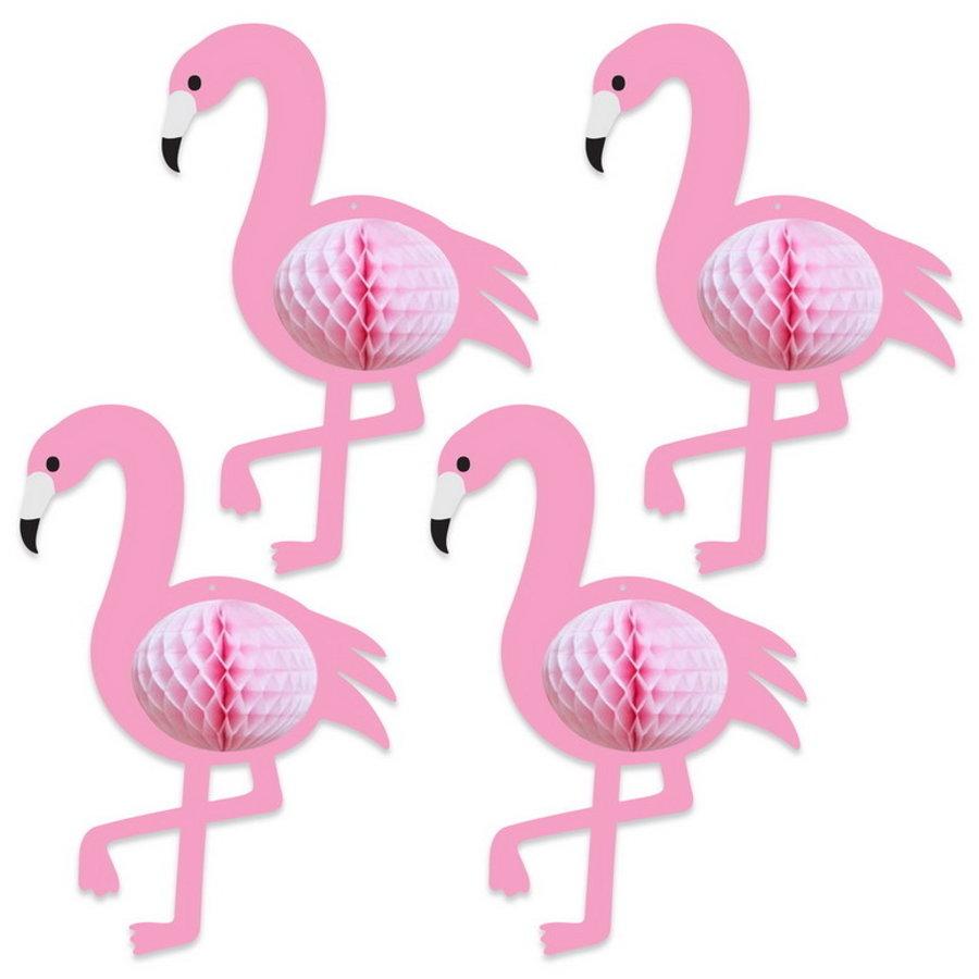Hangdecoratie flamingo honeycomb 4 stuks