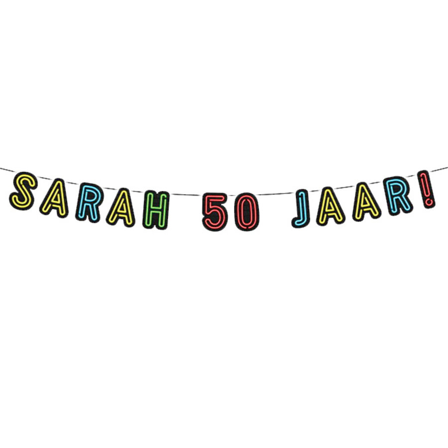 NEON slinger Sarah 50 jaar