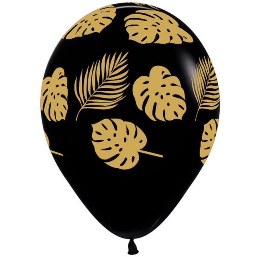 Ballonnen met Jungle en palmbladeren zwart goud 6 stuks