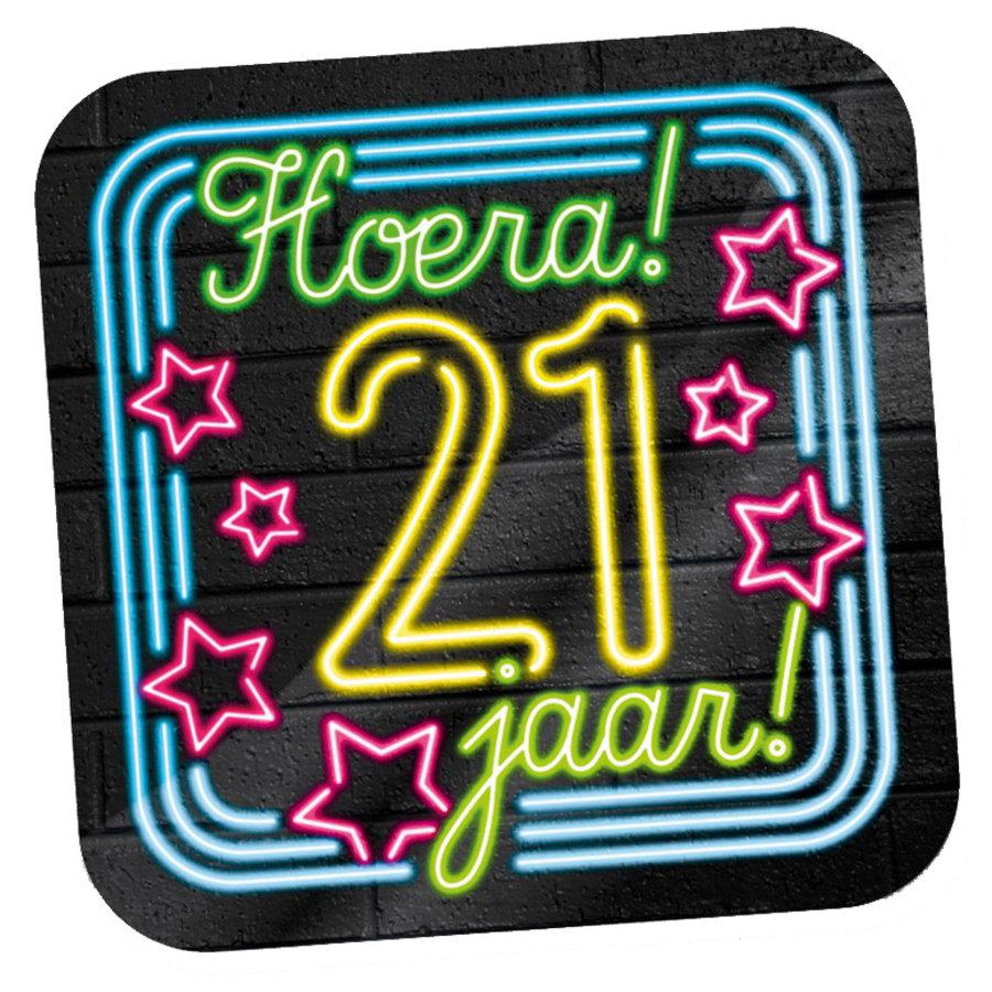 NEON Deurbord Hoera 21 jaar