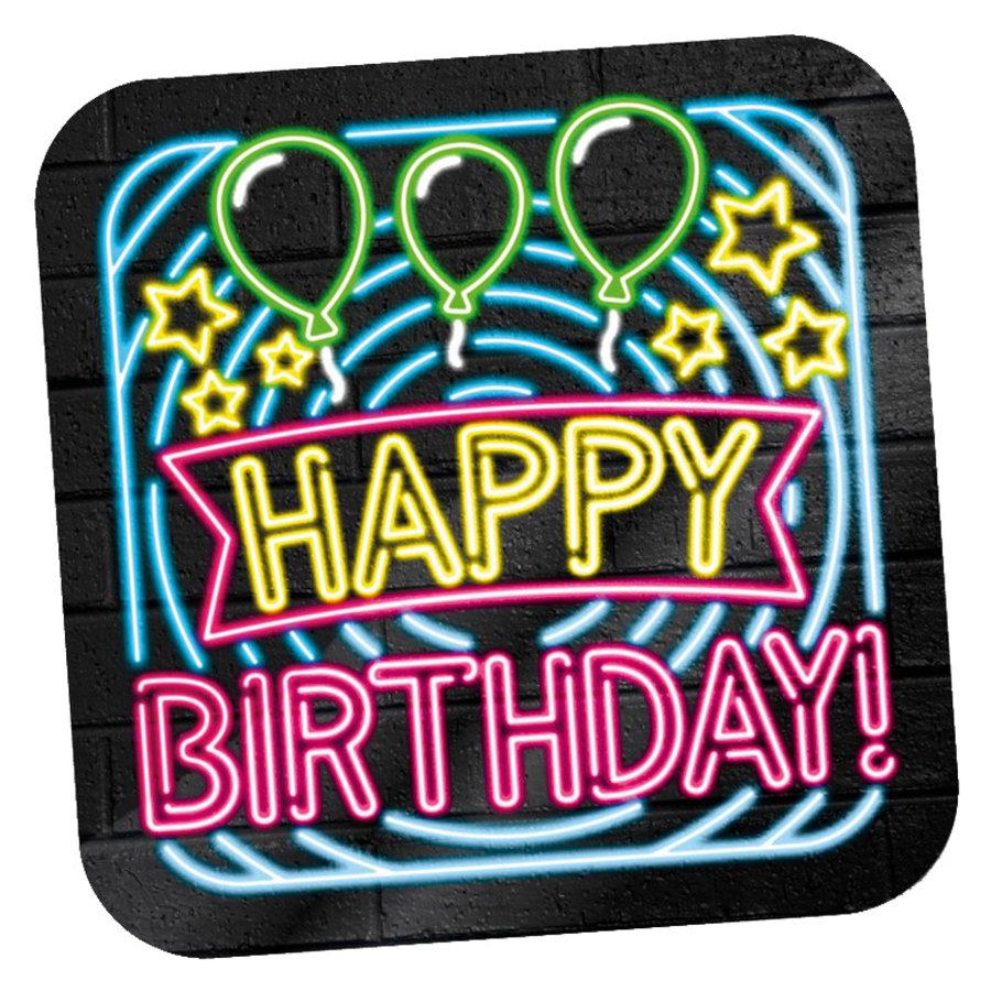 NEON Deurbord Happy Birthday