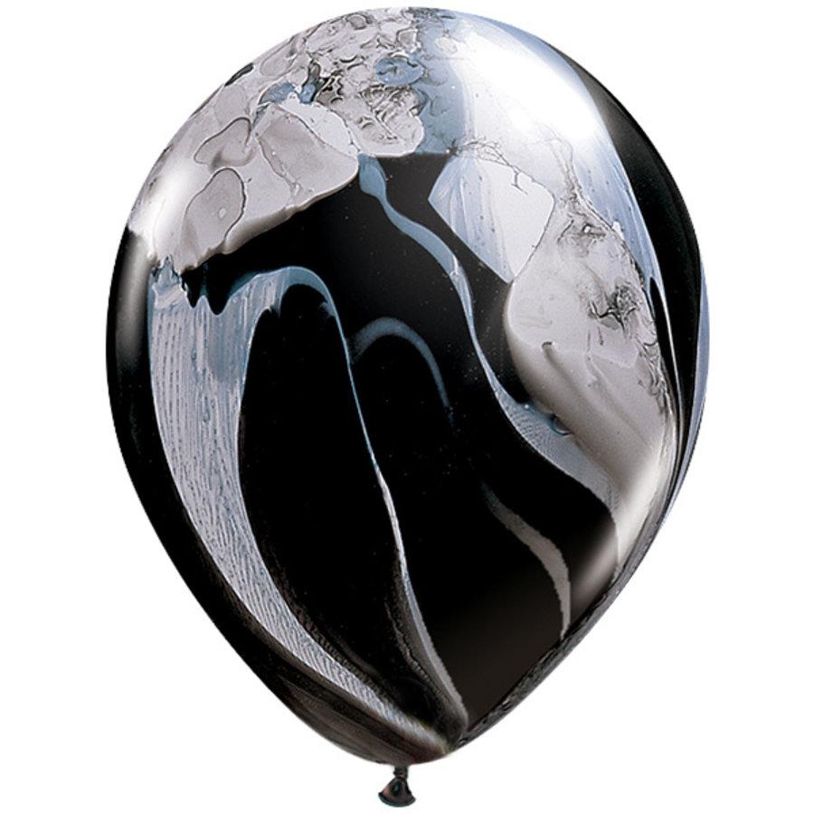 Ballonnen marmer zwart wit 5 stuks
