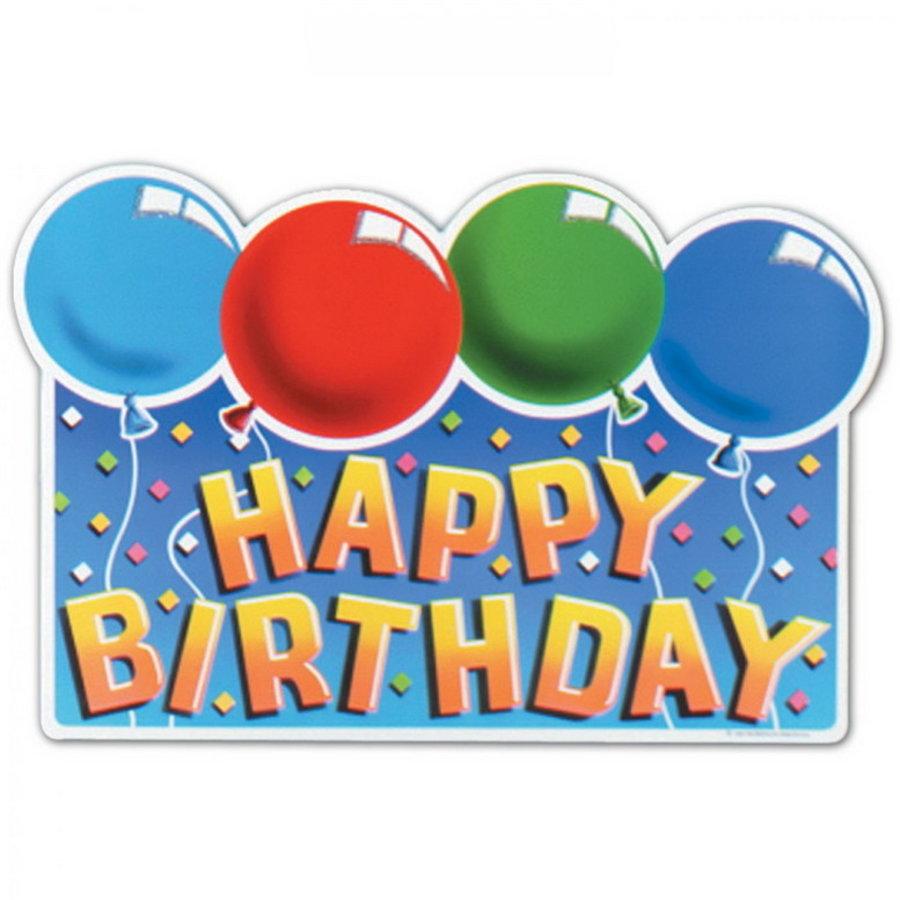 Deurbord Happy Birthday ballonnen