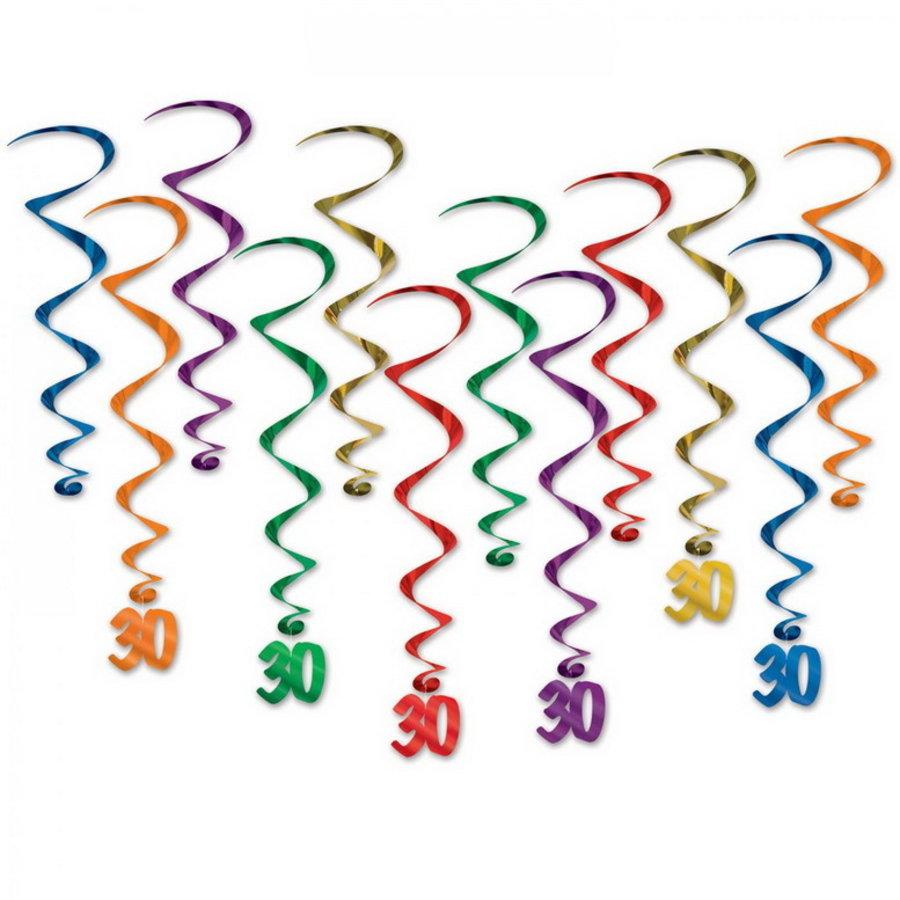 Hangdecoratie Whirls 30 jaar whirls 12 stuks