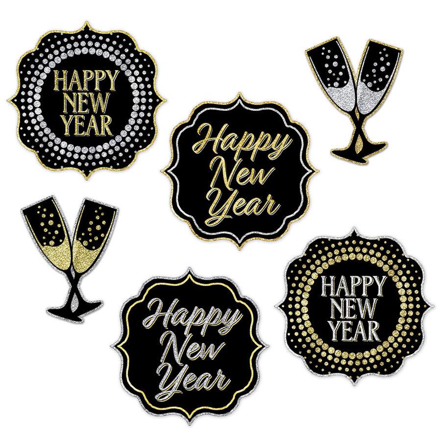 Decoraties Happy New Year stijlvol 6 stuks