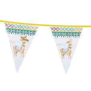 Vlaggenlijn Lama wit 6 meter