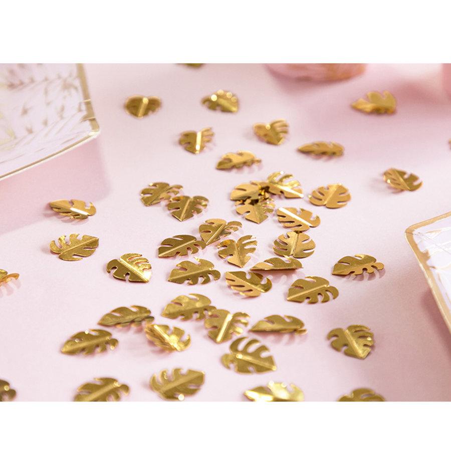Glitter confetti jungle palmbladeren goudkleurig