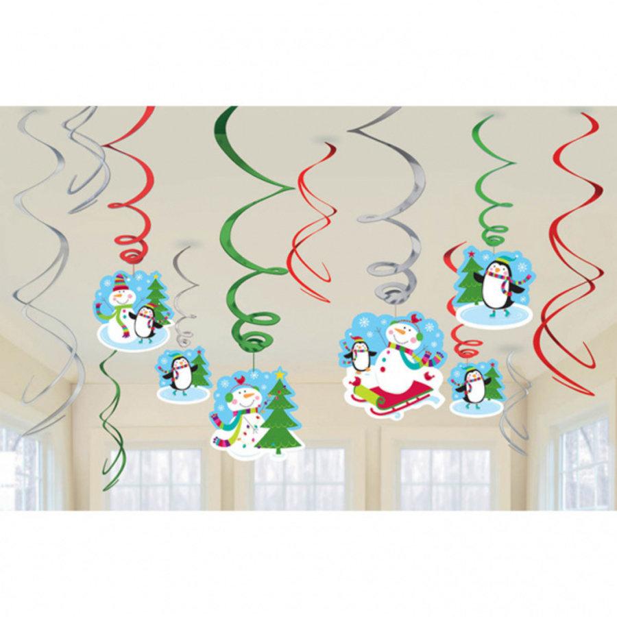 Hangdecoratie sneeuwpoppen Swirls 12 stuks