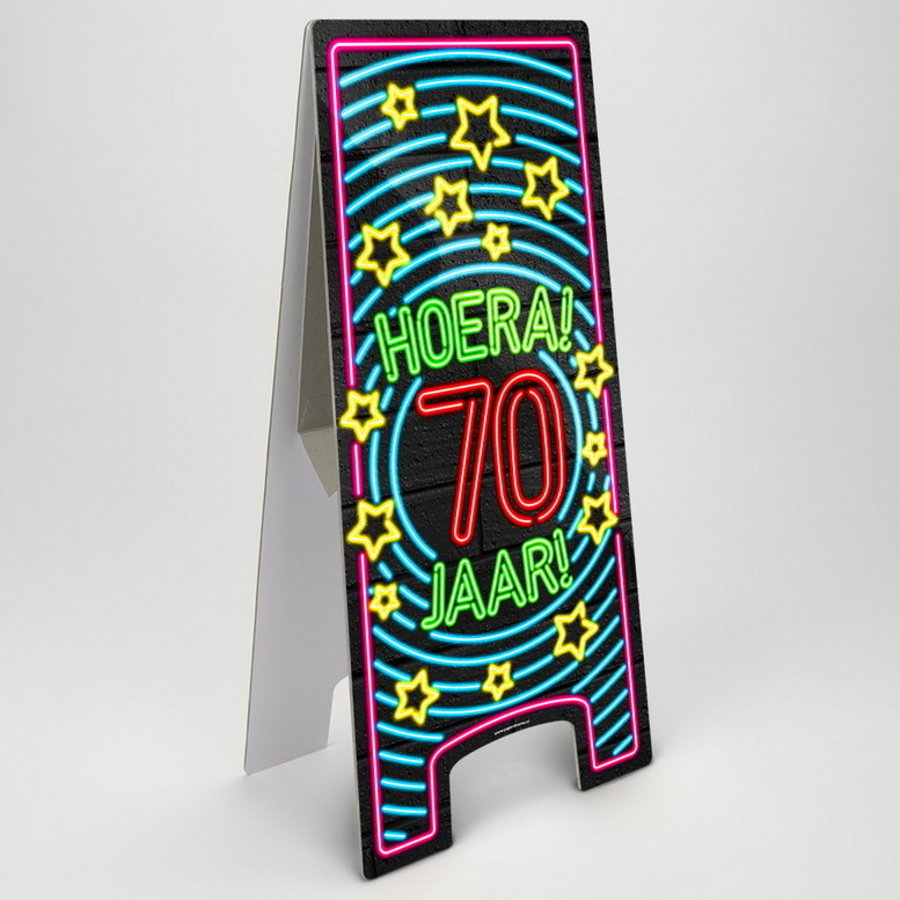 NEON Partybord hoera 70 jaar