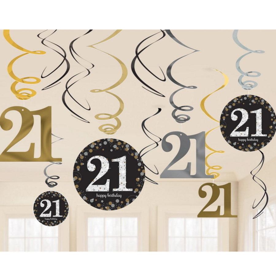 Hangdecoratie 21 jaar stijlvol zwart-goud-zilver