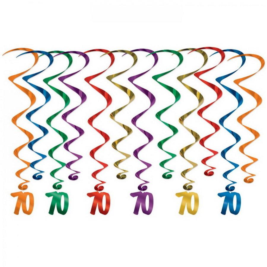 Hangdecoratie Whirls 70 jaar 12 stuks