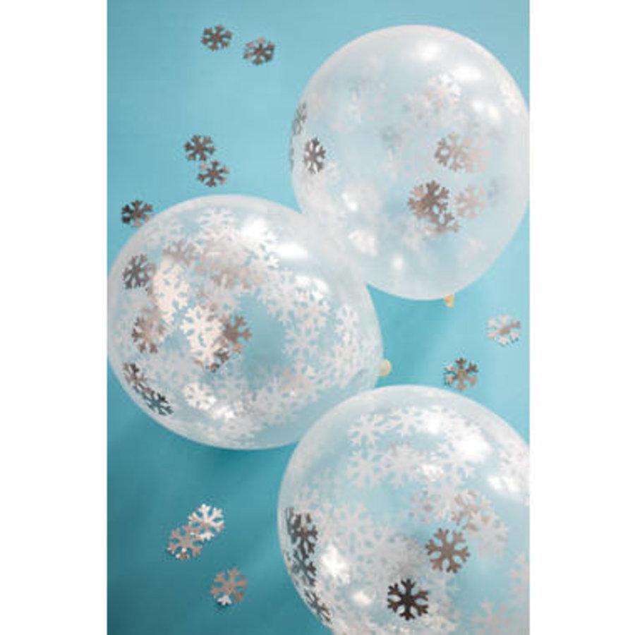 Ballonnen met grote confetti sneeuwvlokken