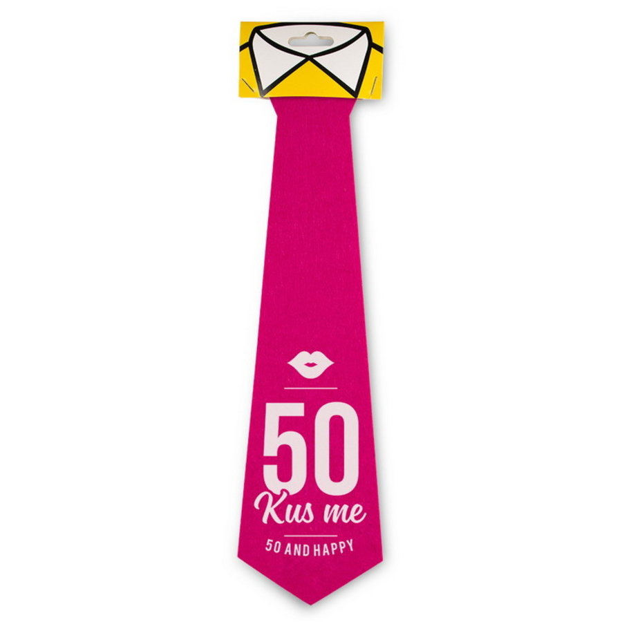 Stropdas 50 jaar roze Kus me
